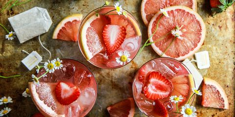 strawberry grapefruit and chamomile brunch punch